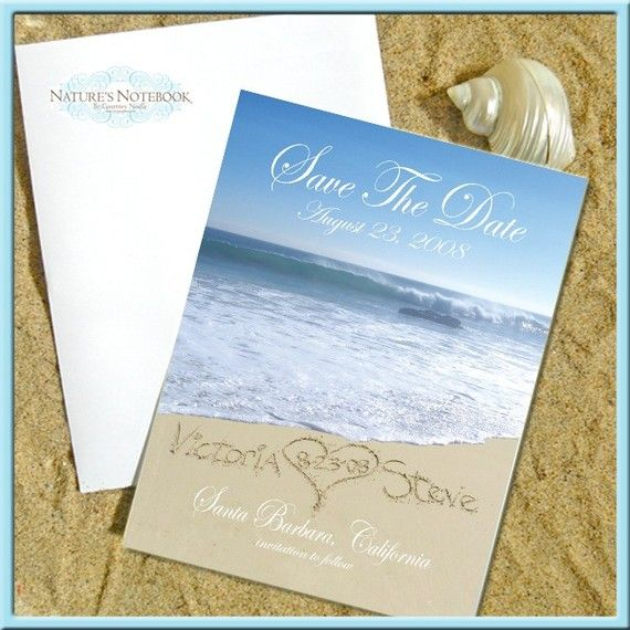 Set of 50 Personalized Beach Save the Date Cards $100.00; custom ...
