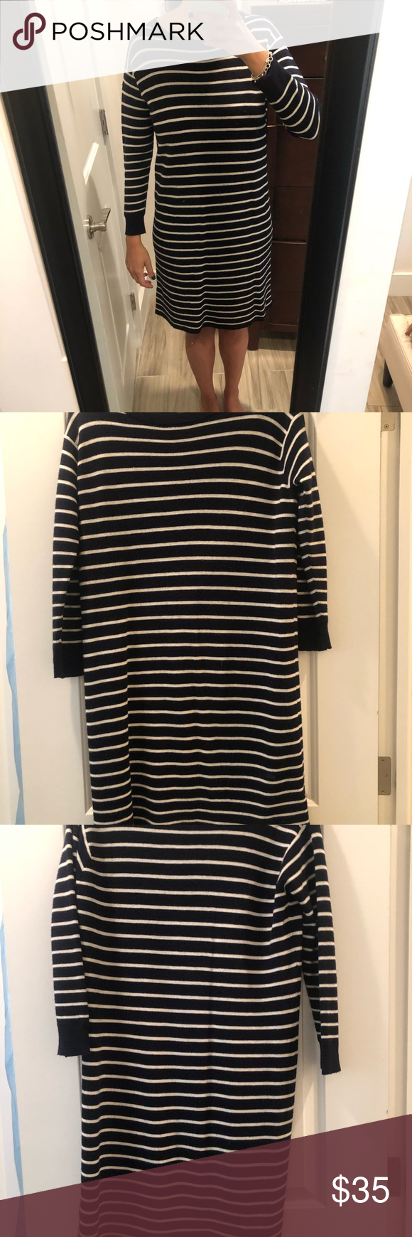 JCrew sweater dress Navy and white striped, knee length J. Crew Dresses Midi #fashiondresses