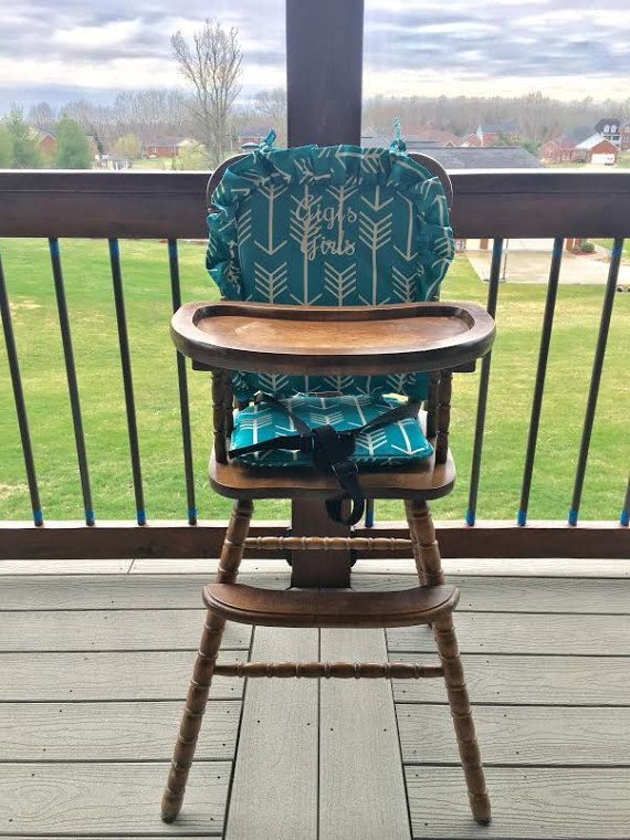 Turquoise Wooden Highchair Cover Pad Cushion High Chair Highchair Cover Wooden High Chairs Wooden Baby High Chair