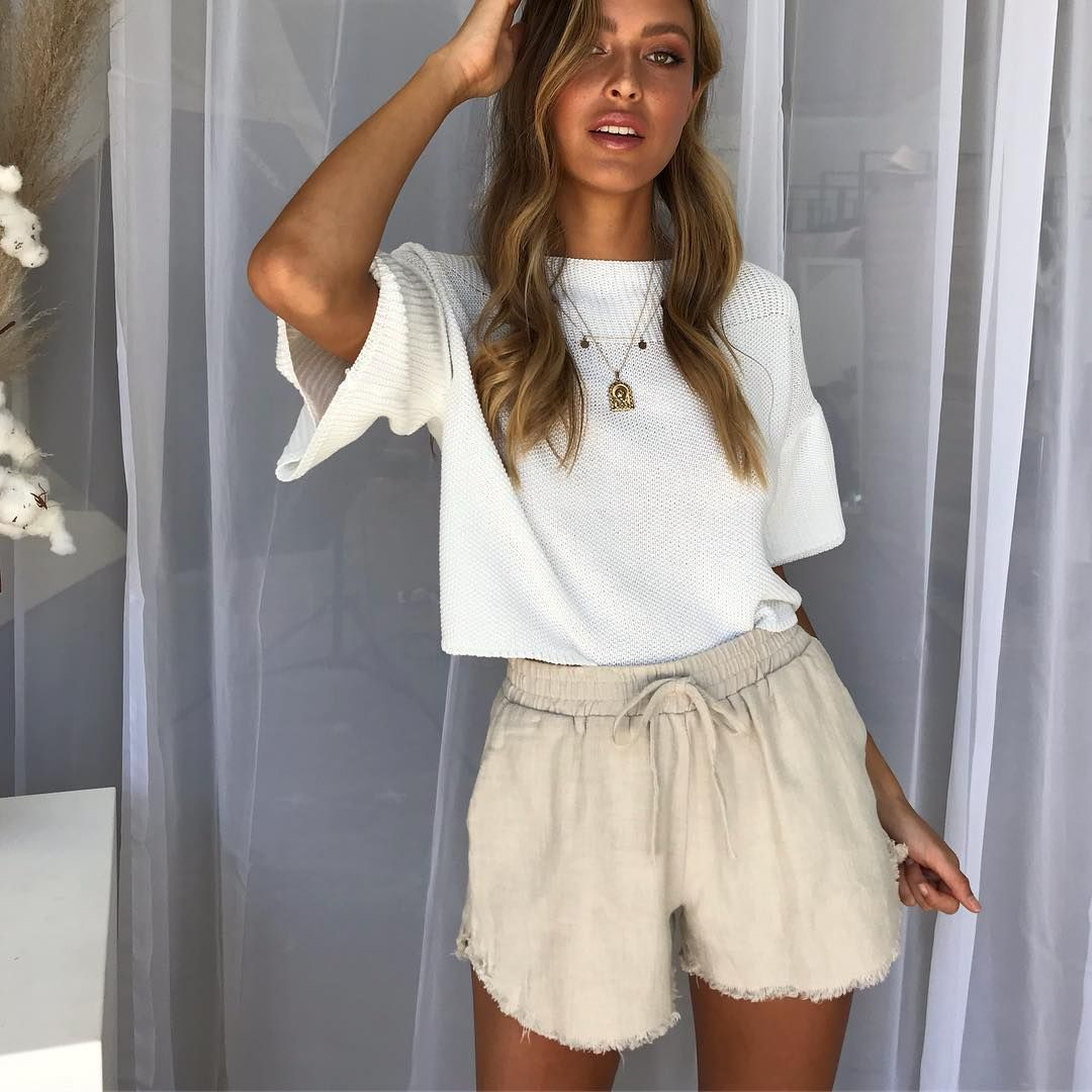 b710838b24 Restocked! Our Summer Flame Shorts are back! Perfect with our exclusive  Cali Knit Top 💫 online at RunwayScout.com #runwayscout