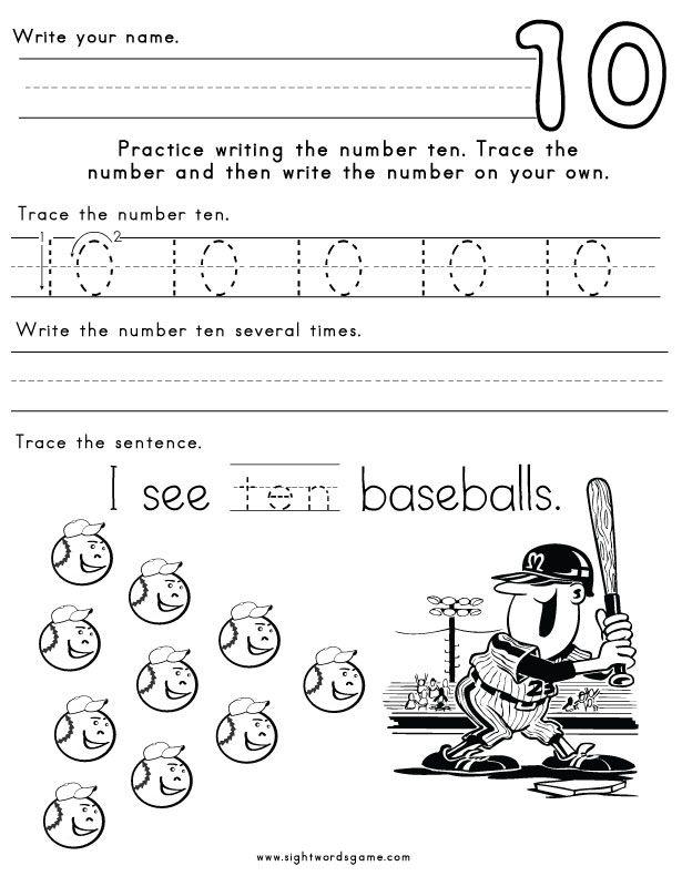 Number-Ten-Worksheet-1 | Gian May | Pinterest