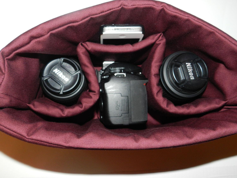 Camera Bag insert DSLR for your purse, travel bag, backpack, diaper bag..Burgundy Cotton - padded slr carrier. $40.00, via Etsy.