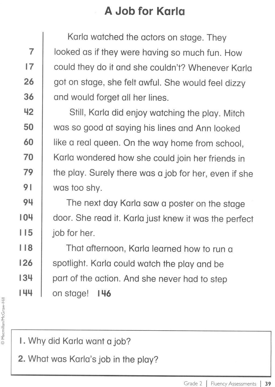 1st Grade Reading Fluency Worksheets In