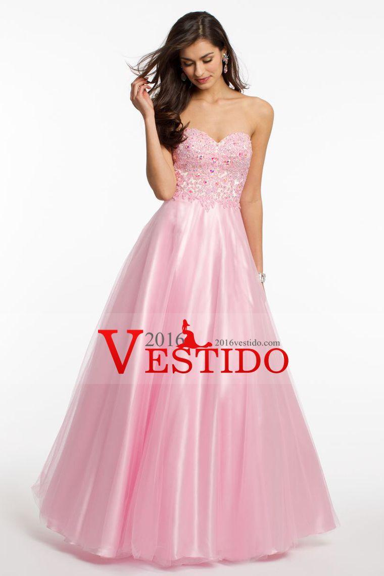 2016 vestidos de baile de novia una línea de tul con apliques ...