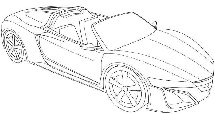 Acura honda nsx roadster coloring page