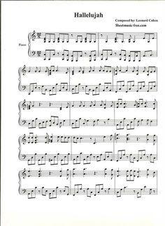 Hallelujah Piano Sheet Music Leonard Cohen Piano Sheet Music