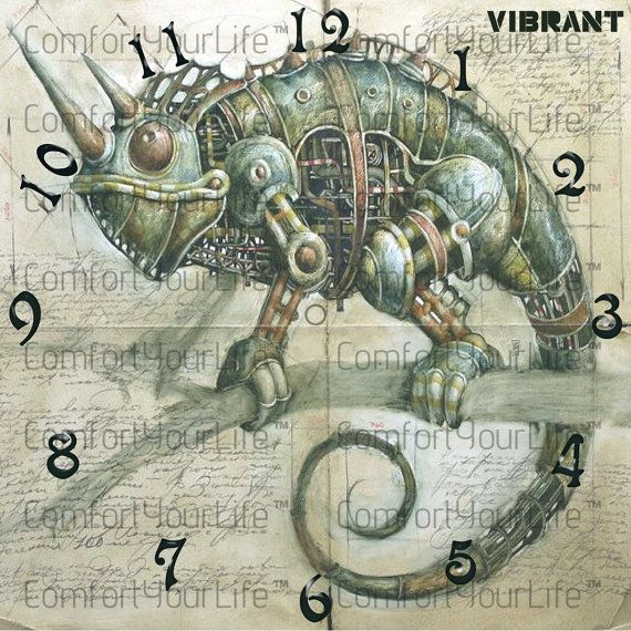 chameleon steampunk printable clock face vibrant digital image instant download