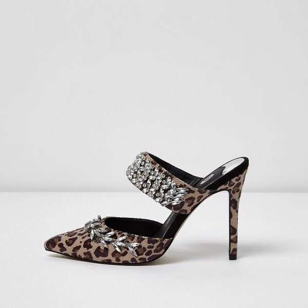 0b8873e0fe4fd5 River Island Brown leopard print rhinestone court heel mules ( 120) ❤ liked  on Polyvore featuring shoes