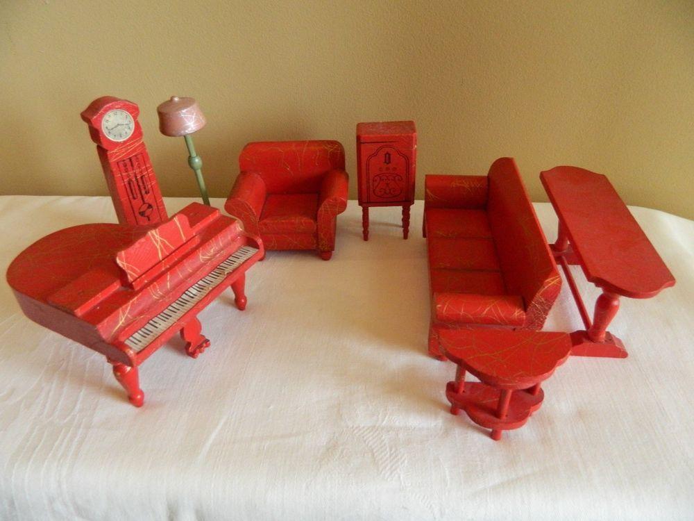 Vintage Strombecker Red Dollhouse Furniture Living Room 8 Piece Set