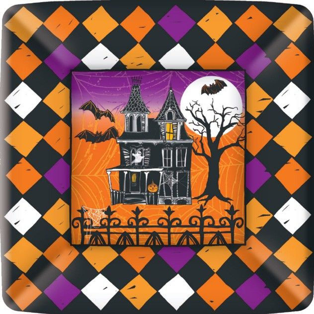 Haunted Halloween 7 inch Square Plates - Halloween - Holidays PlatesAndNapkins.com #halloween #partysupplies