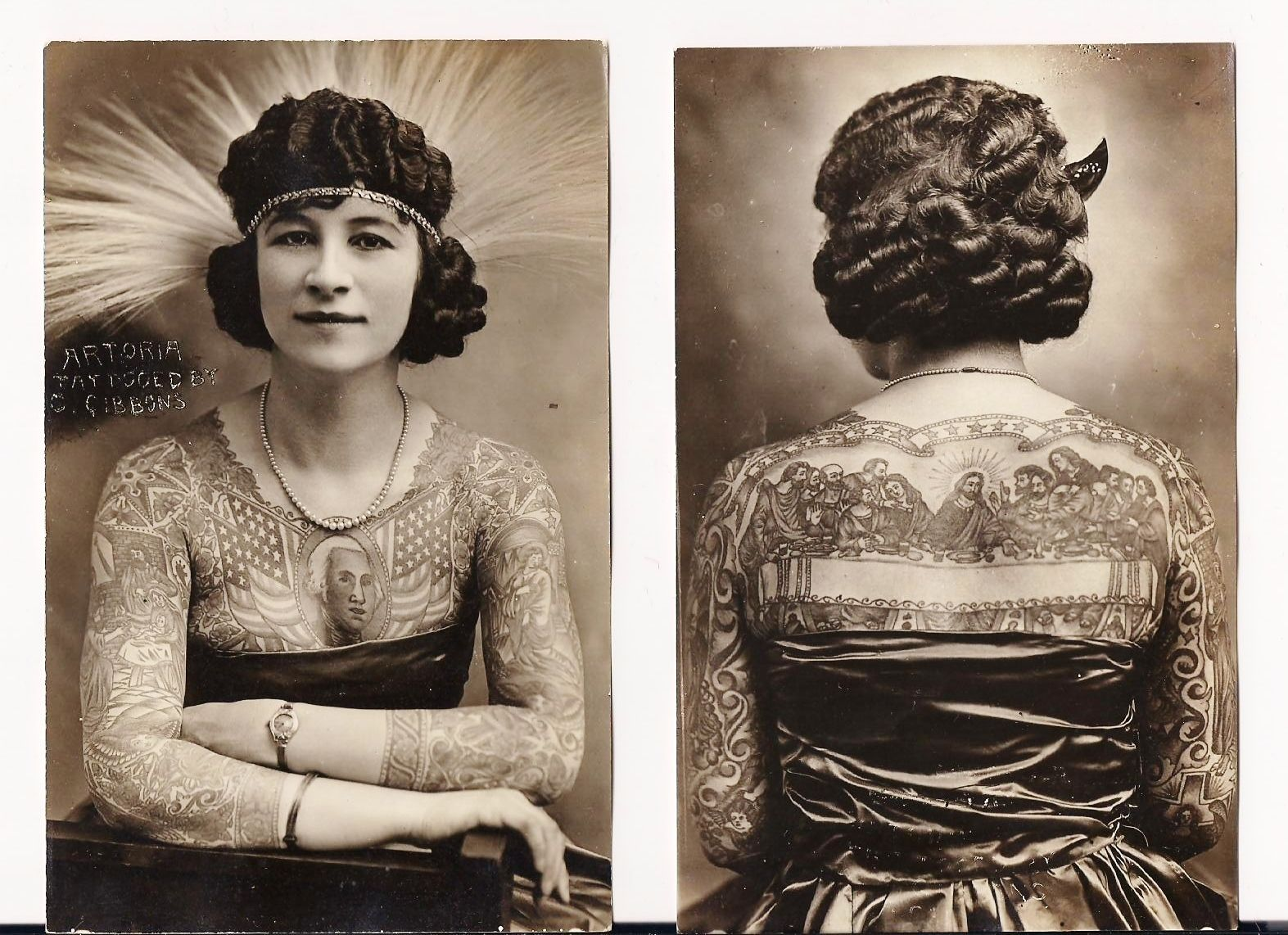 Artoria gibbons sideshow performer old postcards for Tattoo freak costume