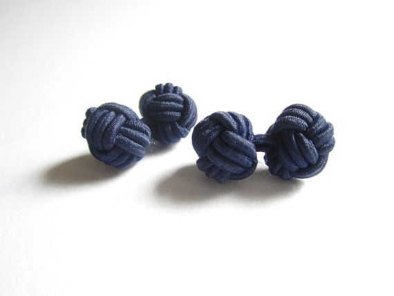 Chinese knot cuff links in navy blue  dark blue by TintinBeads, $4.95