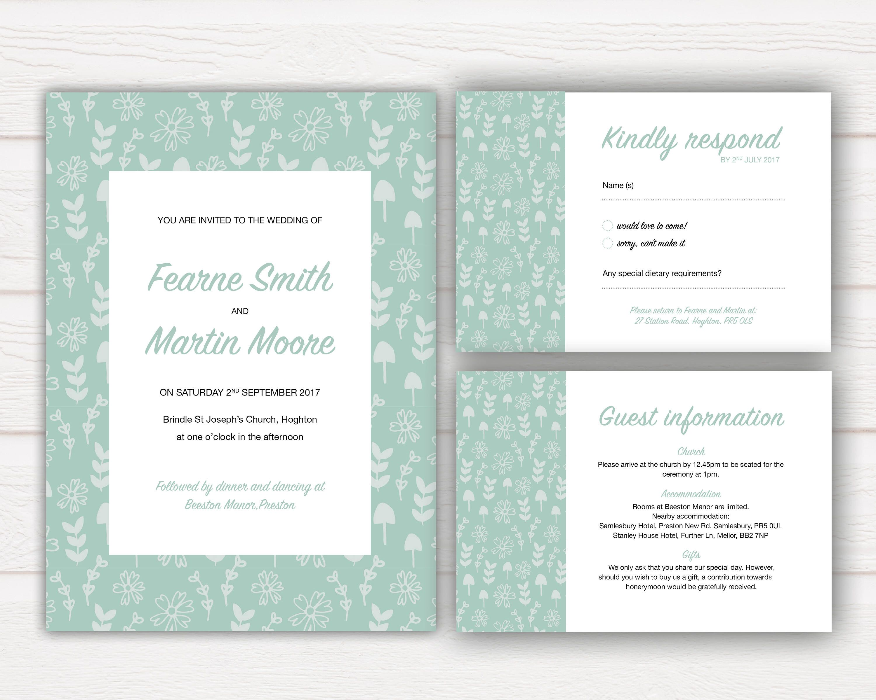 Rustic Wedding Invitation Set, Greenery, Modern, Wedding Invite ...