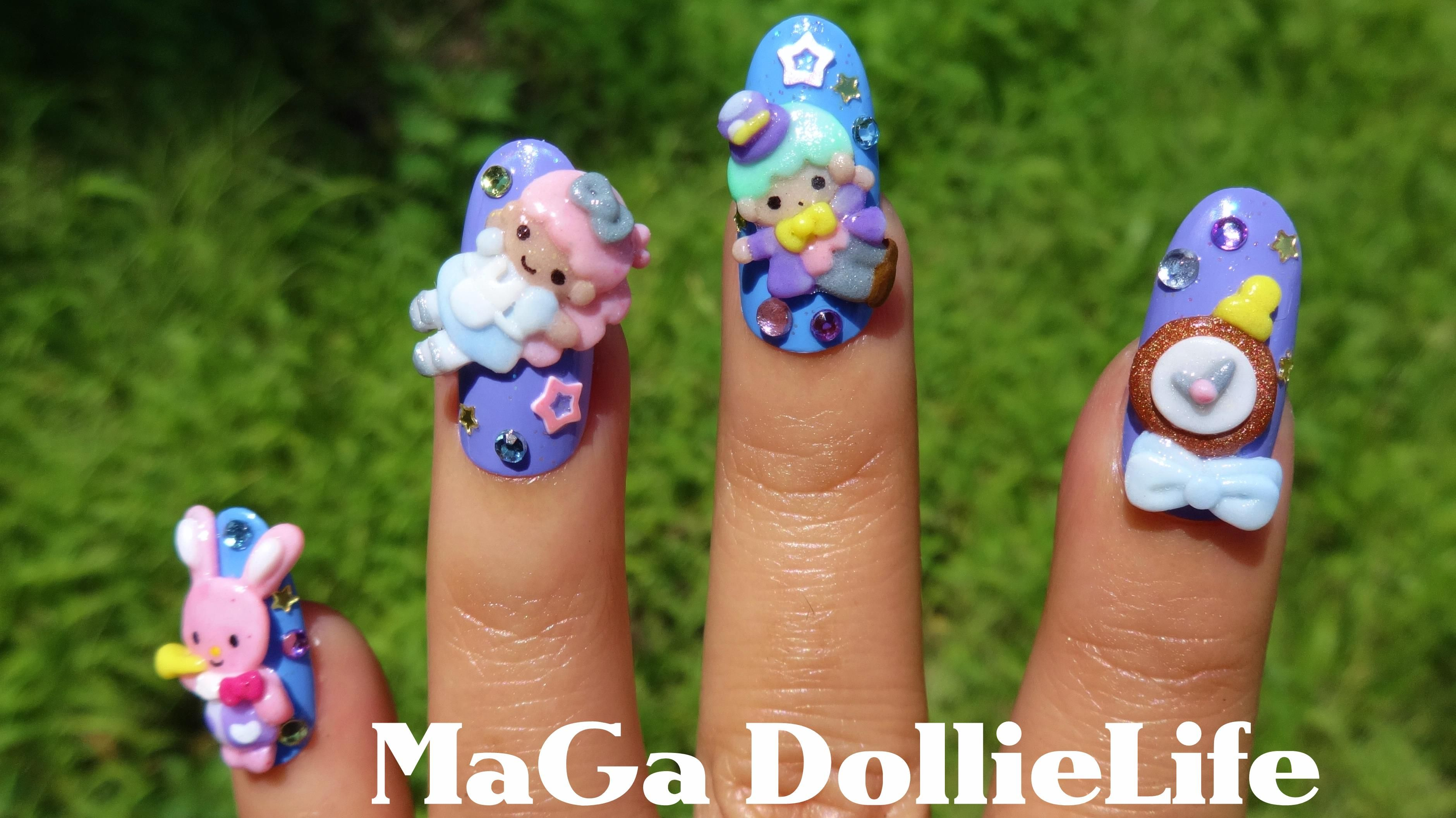 Little Twin Stars Alice in Wonderland 3D Nail Art | CUTE Nails ...