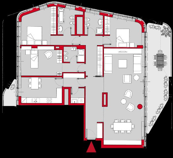 Multi room apartment plan house plan house plans for Multi residential plans