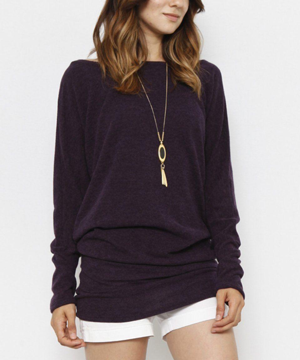 Look at this #zulilyfind! eloges | Deep Purple Blouson Sweater ...