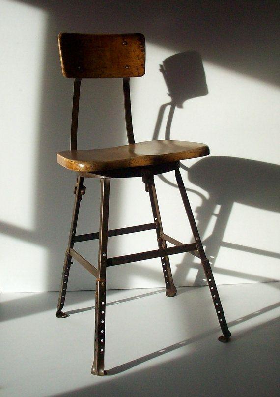 Vintage Industrial Work Stool / Wood And Painted Steel / Drafting Stool / Artists  Stool / Shop Stool / Distressed / Adjustable Stool