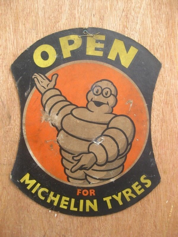 Old Sign Vintage Michelin Pneus Tyres Tires Advert Garage car Bicycle Velo Motor