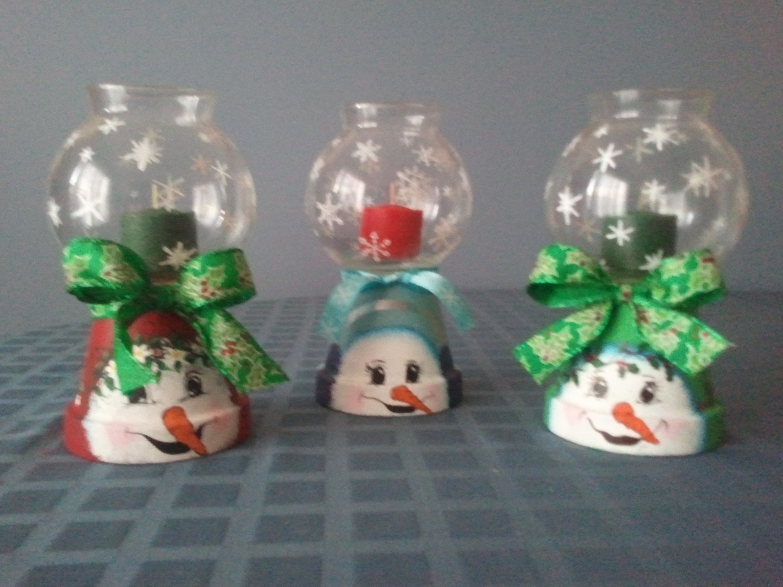 Small Snowman Themed Candle Holders On Sale In My Craft