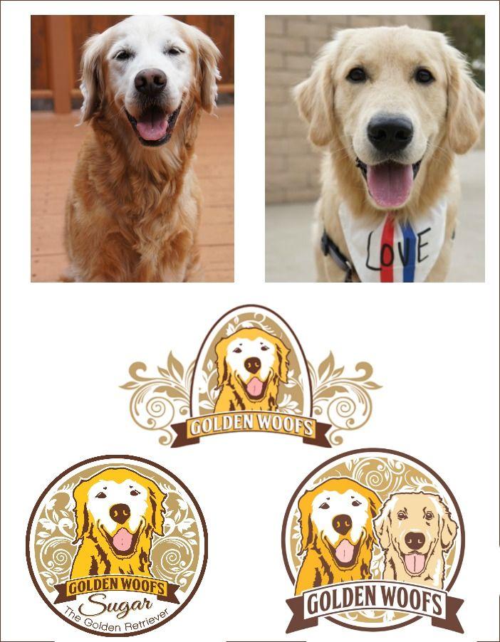 New Golden Woofs Logo Cute Animals Retriever Dog Logos