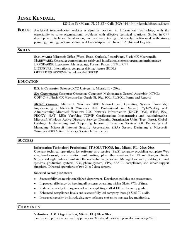 It Professional Resume Professional Objective Resumes  Resumes