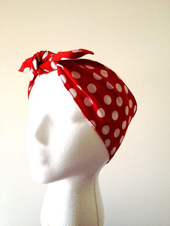 head scarf bandana rosie pink  red polka dots bow hair wrap rockabilly vintage