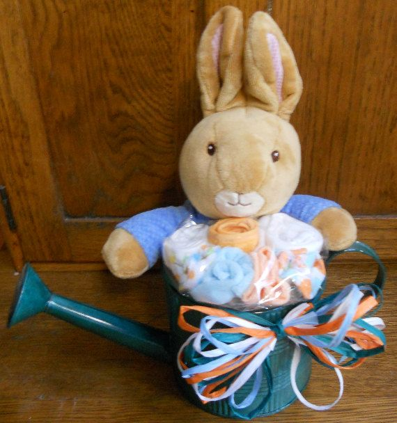 Peter rabbit baby bouquet on etsy a plush peter inside a watering items similar to peter rabbit baby bouquet on etsy negle Choice Image