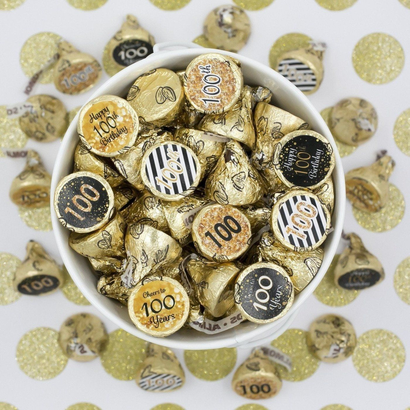 Black And Gold 100th Birthday Party Favor Stickers 180 Count Birthday Party Favors 60th Birthday Party Decorations Birthday Parties