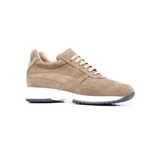 Elevator Sneakers - Upper in suede calf leather, insole in genuine leather, lightweight high quality rubber outsole anti-slip. Hand Made in Italy.