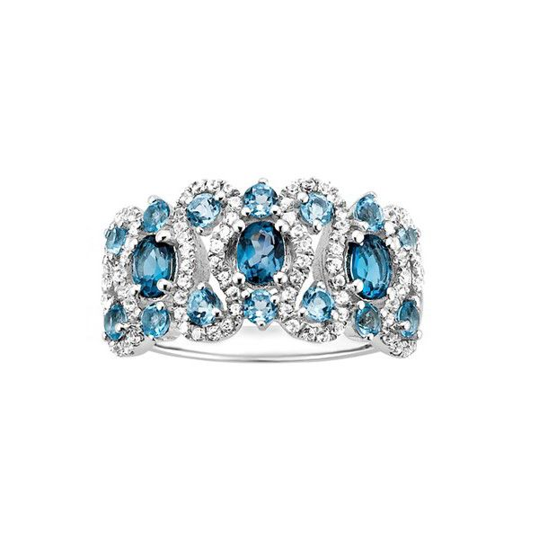 Multi-Blue Topaz and Created White Sapphire Ring (26285 RSD) ❤ liked on Polyvore featuring jewelry, rings, blue, round ring, band jewelry, band rings, oval stone ring and white sapphire band ring