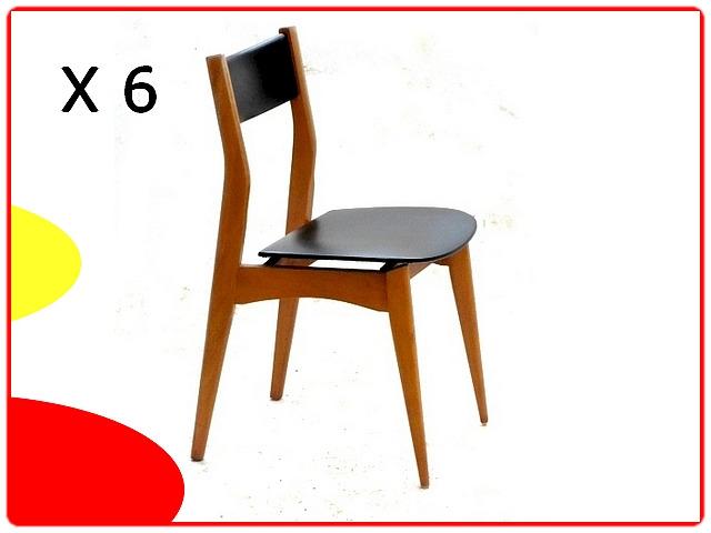 Chaise vintage en teck et simili cuir noir 1960 Design