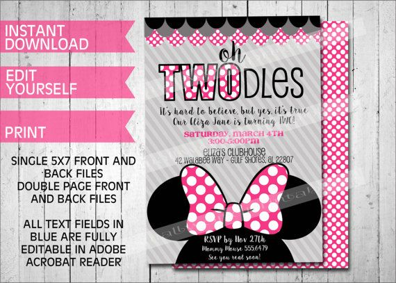 oh twodles invitations minnie mouse