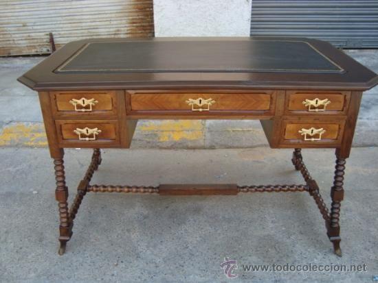 antigua y preciosa mesa escritorio de despacho de nogal , patas ...
