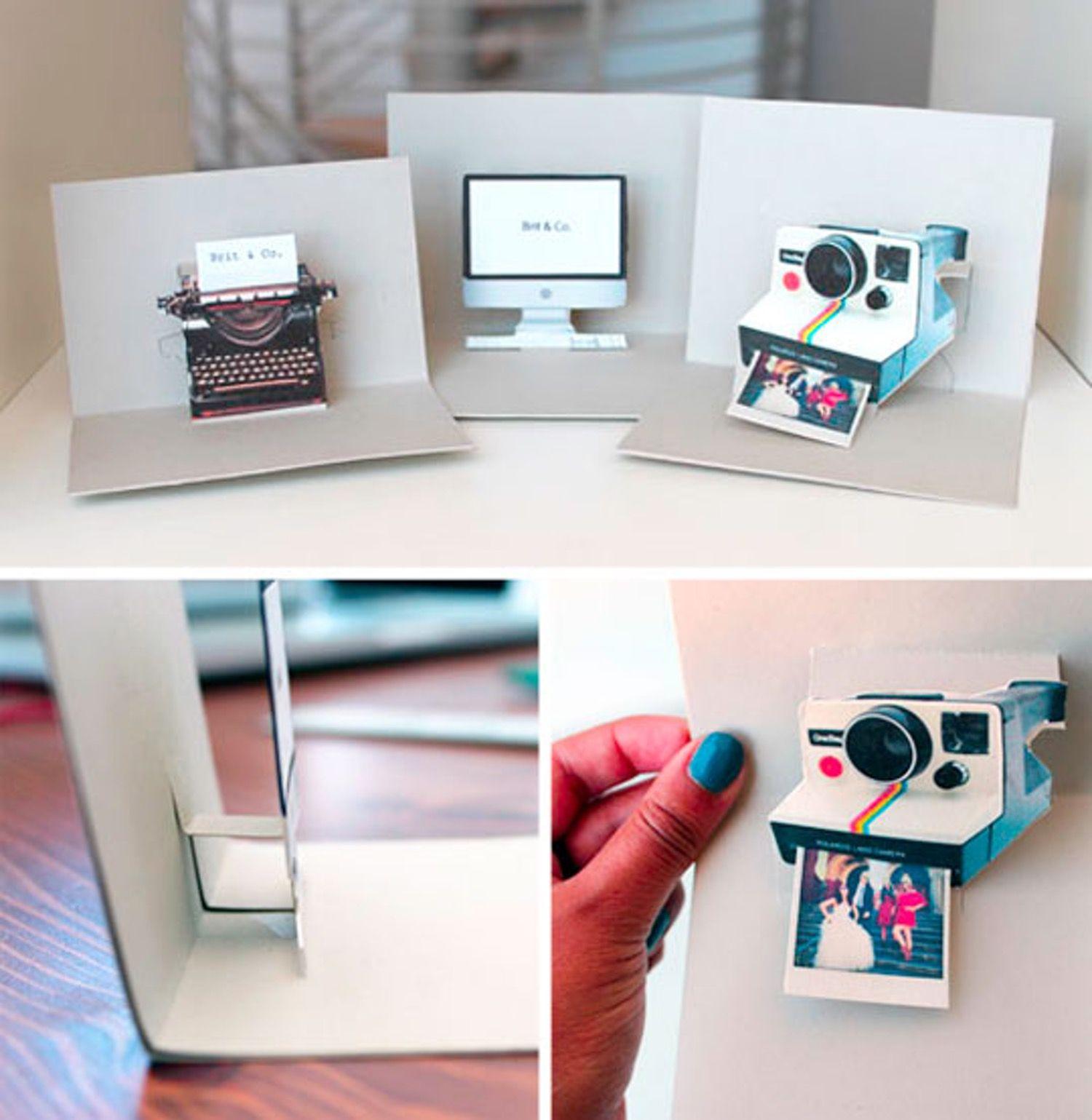 DIY iMac, Polaroid, and Typewriter Pop-Up Name Cards