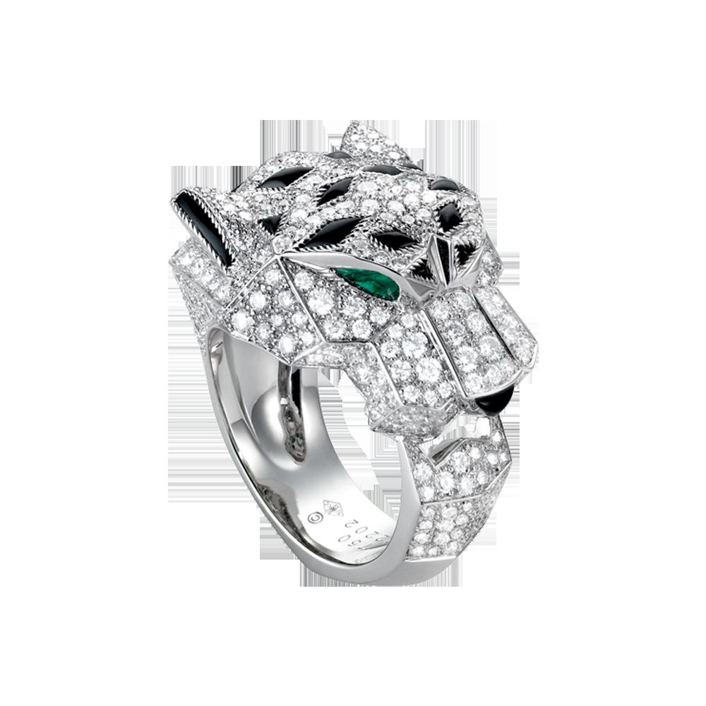 bague panth re or gris meraudes diamants onyx laque noire bagues de luxe pour femme. Black Bedroom Furniture Sets. Home Design Ideas