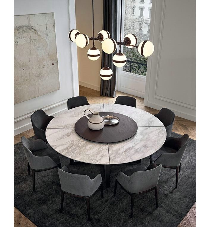 New Design Marble Top Sold Wood Legs Dining Table Turntable Luxury Dining Room Modern Dining Room Luxury Dining