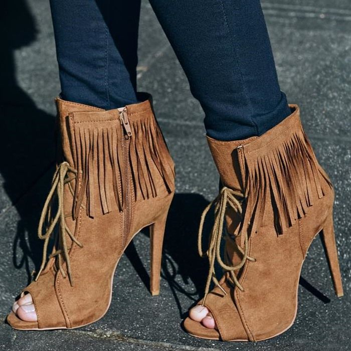 Statement Shoes: Fringe-Tastic Lace-Up Stiletto Booties