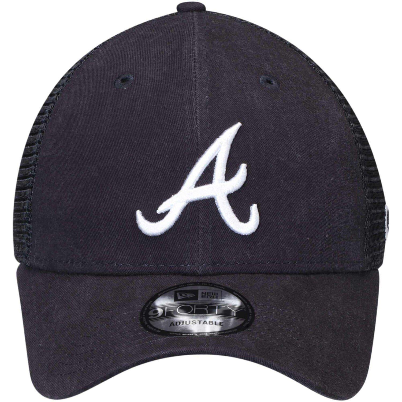 Men S New Era Navy Atlanta Braves Trucker 9forty Adjustable Snapback Hat In 2020 Snapback Hats Atlanta Braves Braves