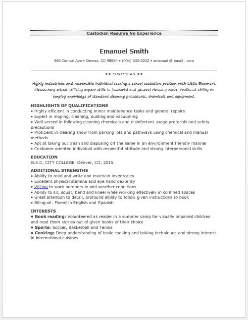 Janitorial Resume Sample Custodian Resume  Resume Sample  Pinterest