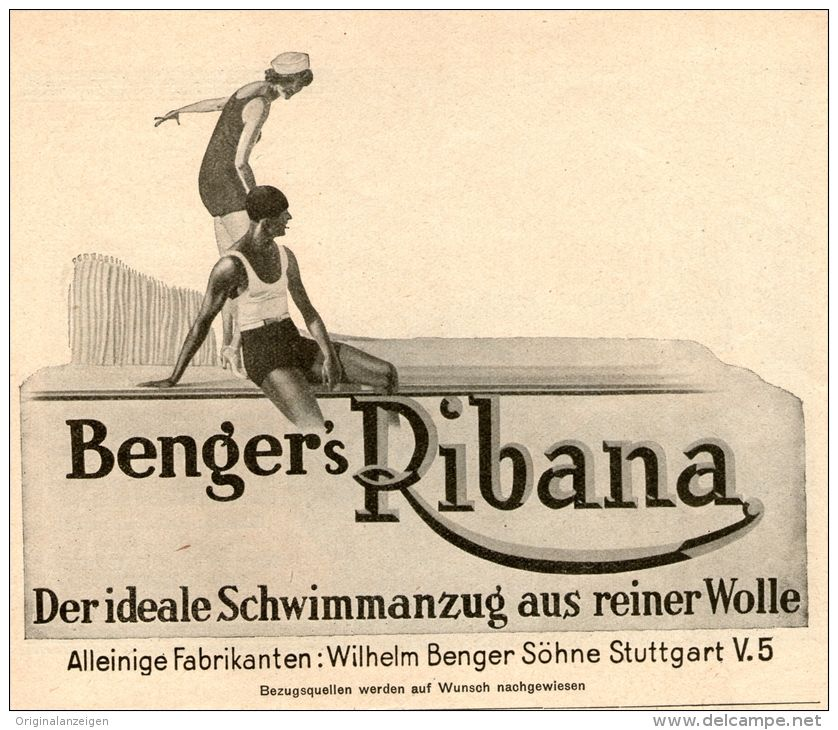 Original-Werbung/ Anzeige 1928 - BENGER'S RIBANA UNTERKLEIDUNG / STUTTGART  -  ca. 140 x 110 mm