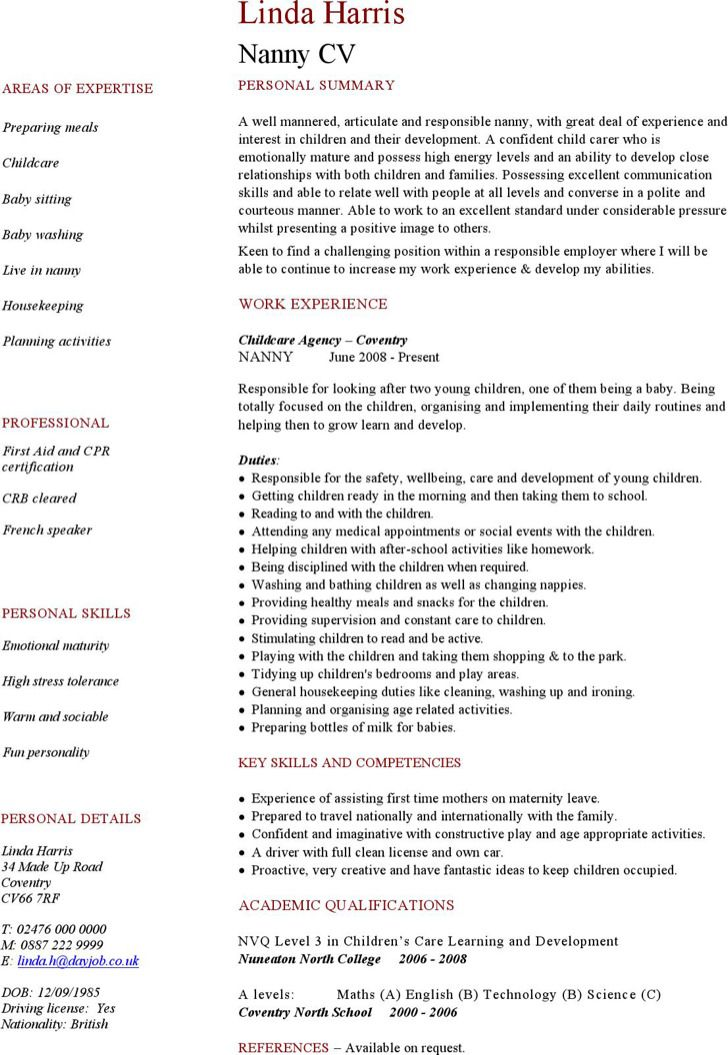 Download Free Resume Template Downloads Sample Nanny Examples Resumes