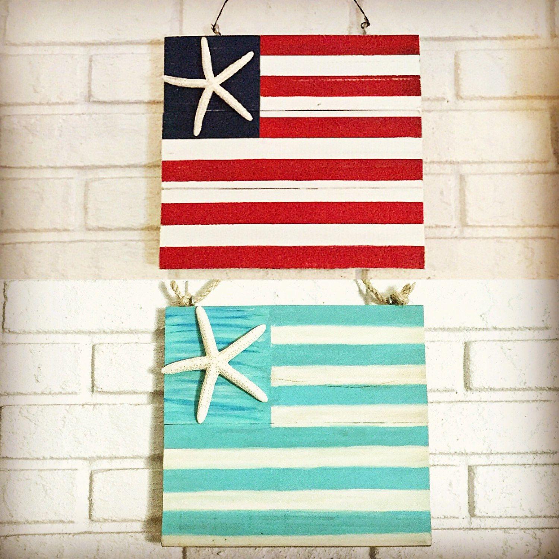 Aqua Beach Flag Starfish Flag Wood Beach Flag Americana Decor