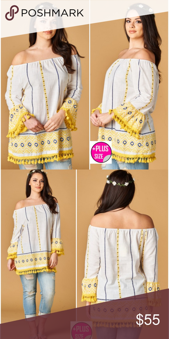 d594ed549c3 Plus Size 1x, 2x, 3x Women's Tunic-Just In! Off Shoulder Boho pattern in  buttery yellow and white with fringe detailing in plus size for women 1X,  2X, ...