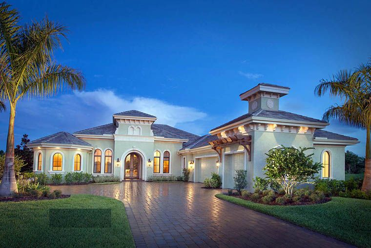 Mediterranean Style House Plan 75909 With 4 Bed 5 Bath 3 Car Garage Mediterranean Style House Plans Modern Mediterranean Homes Mediterranean Homes