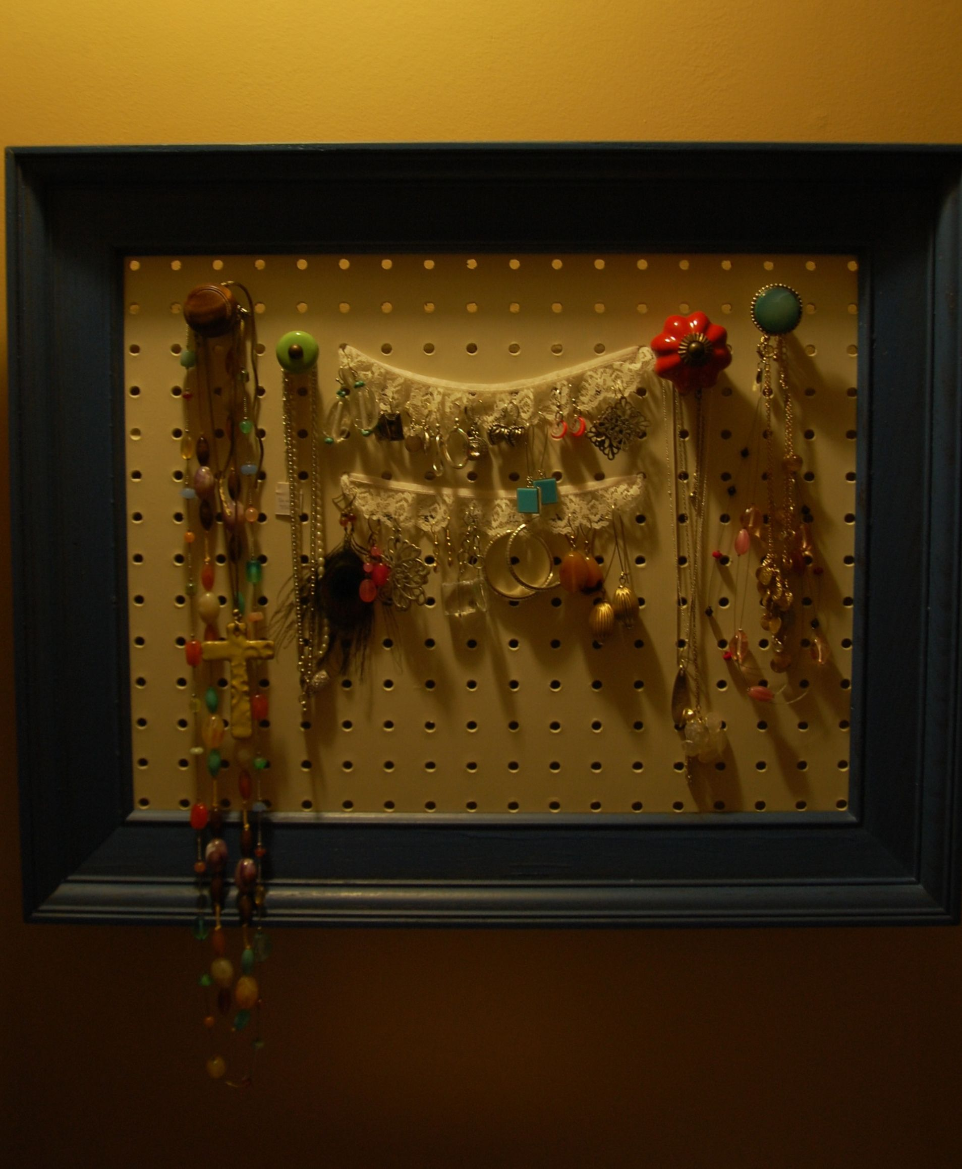 Frame pegboard Hobby Lobby knobs lace jewelry organizer