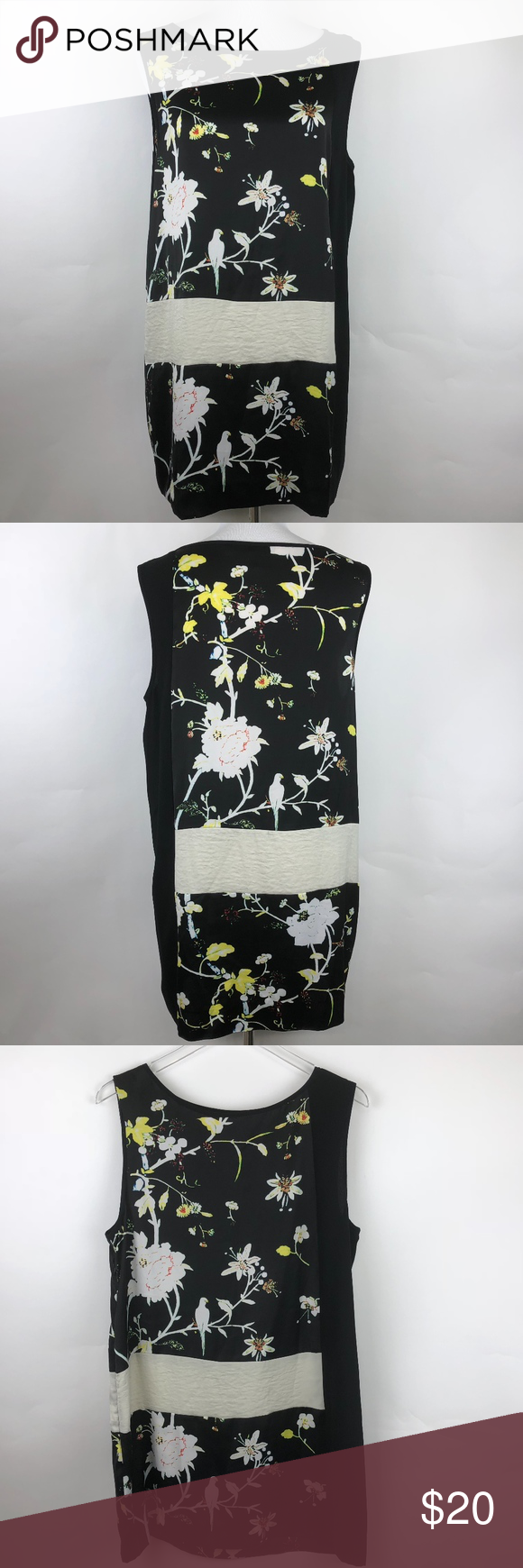 f023ca8935 Rachel Roy Shift Dress Sleeveless Birds Black Beautiful dress with a bird  and flower print. Sleeveless. Side zipper. ◇ Pit to pit 20 ◇ Total length  33