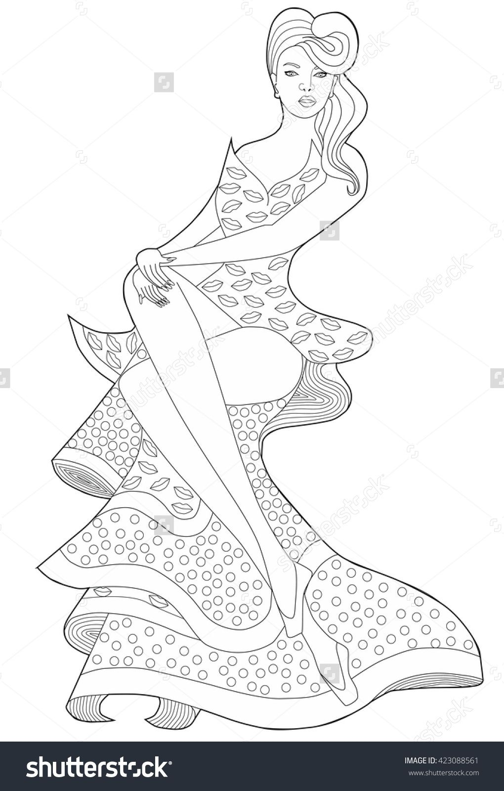 coloring book page for adults sitting in a long dress