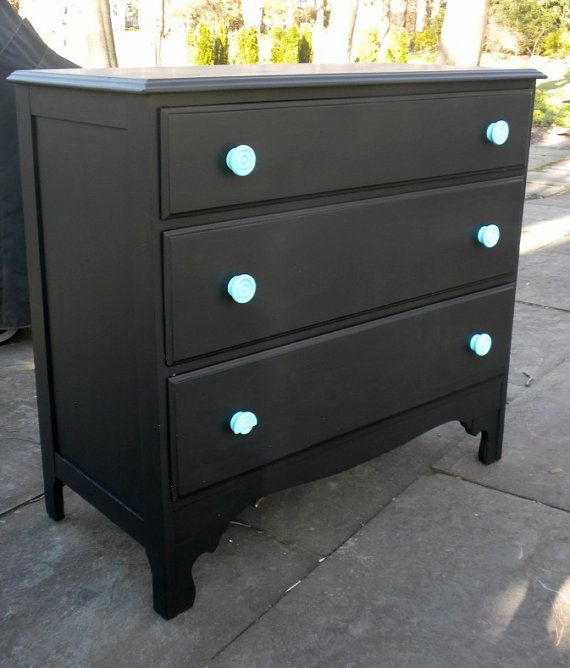 Vintage Black Dresser With Turquoise Knobs