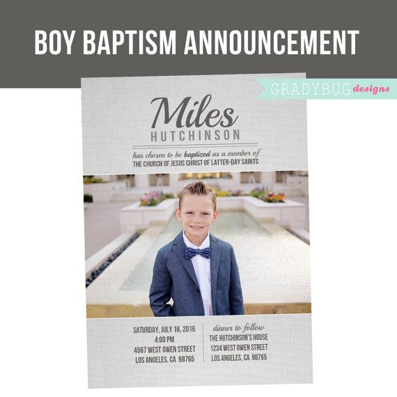LDS Baptism Invitation, Boys Baptism Announcement, grey, Great to be