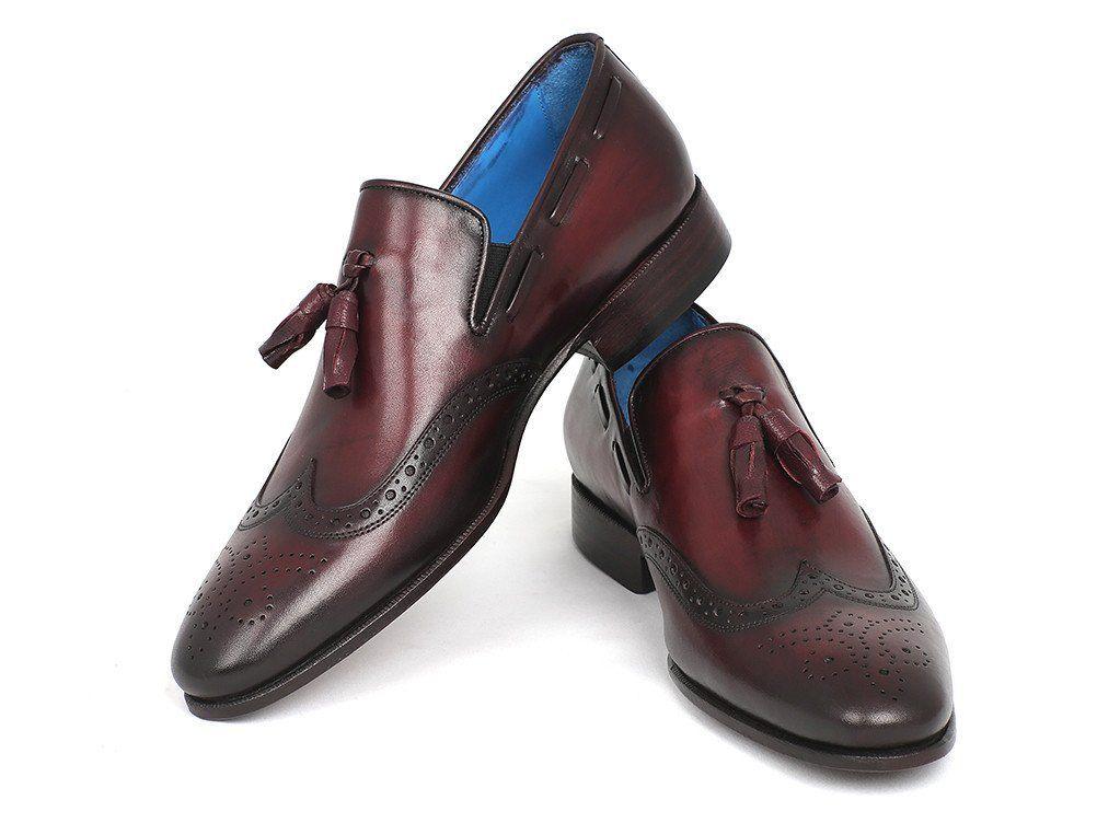 Burgundy Wingtip Brogue Toe Tassel Loafer Slip On Genuine Leather Handmade Shoes